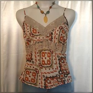 Daisy Fuentes floral lace tank top